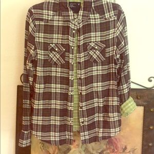 American Eagle Outfitters purple plaid button up